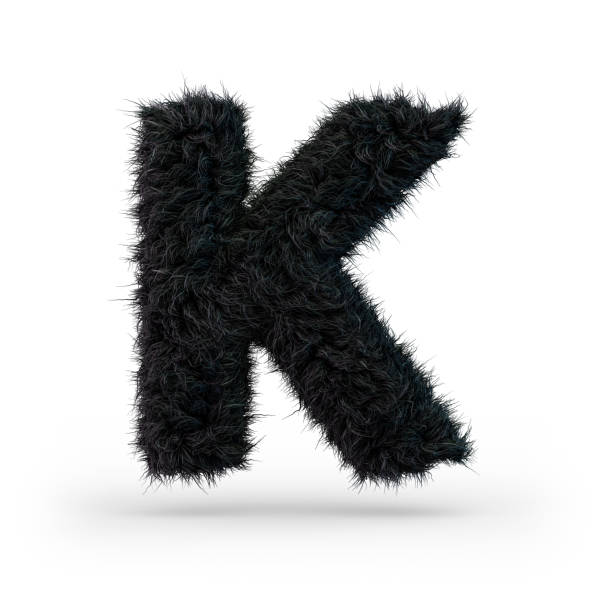Uppercase fluffy and furry black font. Letter K. 3D Uppercase fluffy and furry black font. Letter K. 3D rendering k icon stock pictures, royalty-free photos & images