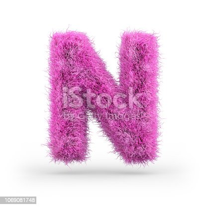 Uppercase fluffy and furry font made of fur texture for poster printing, branding, advertising. 3D rendering