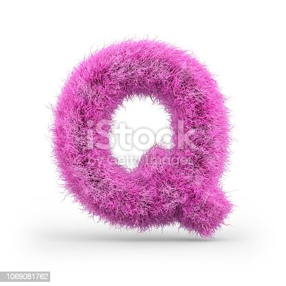 istock Uppercase fluffy and furry font. 3D 1069081762