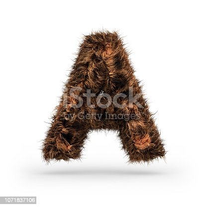 istock Uppercase fluffy and furry font. Letter A. 3D 1071837106