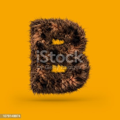 Uppercase fluffy and furry font made of fur texture for poster printing, branding, advertising. Letter B. 3D rendering