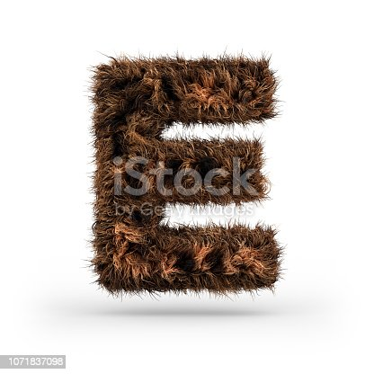 istock Uppercase fluffy and furry font. Letter E. 3D 1071837098