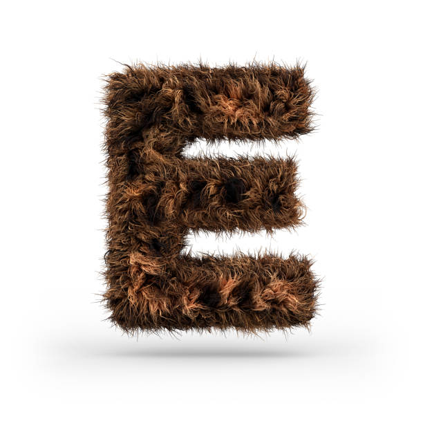 Uppercase fluffy and furry font. Letter E. 3D Uppercase fluffy and furry font made of fur texture for poster printing, branding, advertising. Letter E. 3D rendering letter e stock pictures, royalty-free photos & images