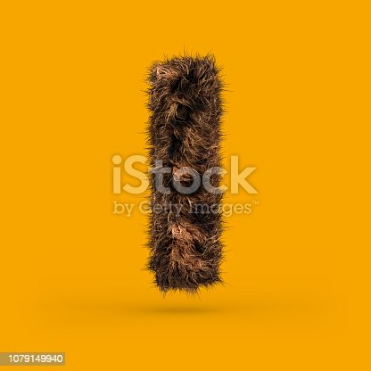 istock Uppercase fluffy and furry font. Letter I. 3D 1079149940