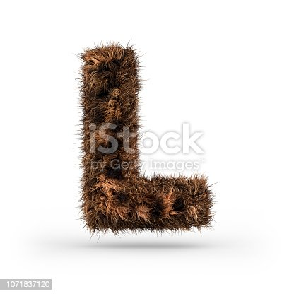 istock Uppercase fluffy and furry font. Letter L. 3D 1071837120