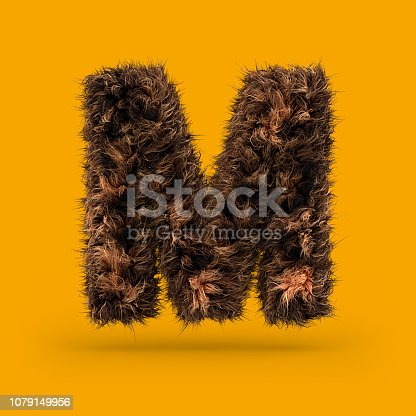 844515966 istock photo Uppercase fluffy and furry font. Letter M. 3D 1079149956