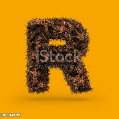 istock Uppercase fluffy and furry font. Letter R. 3D 1079149958