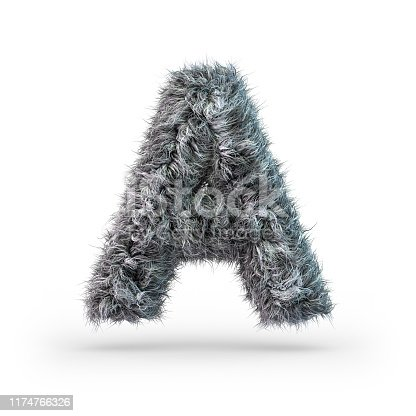 184953872 istock photo Uppercase fluffy and furry gray font. Letter A. 3D 1174766326