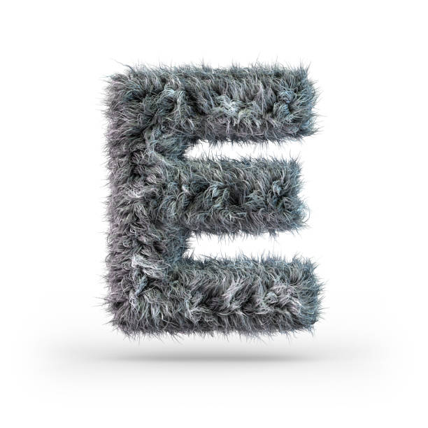 Uppercase fluffy and furry gray font. Letter E. 3D Uppercase fluffy and furry gray font. Letter E. 3D rendering letter e stock pictures, royalty-free photos & images