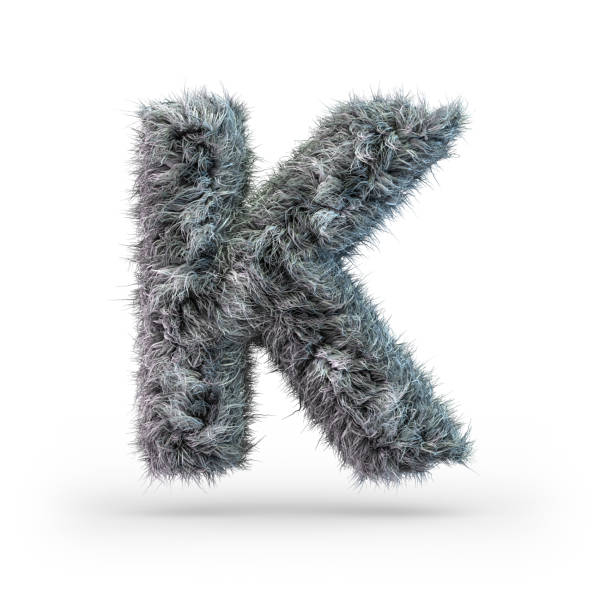 Uppercase fluffy and furry gray font. Letter K. 3D Uppercase fluffy and furry gray font. Letter K. 3D rendering k icon stock pictures, royalty-free photos & images