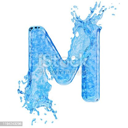 178651355 istock photo Uppercase letter M made by water with drops and splashes isolated on white background 1194243296