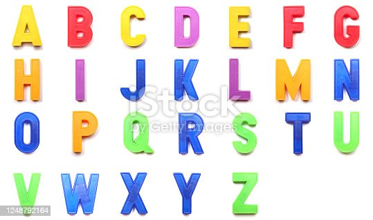 plastic magnetic uppercase letters of the British alphabet
