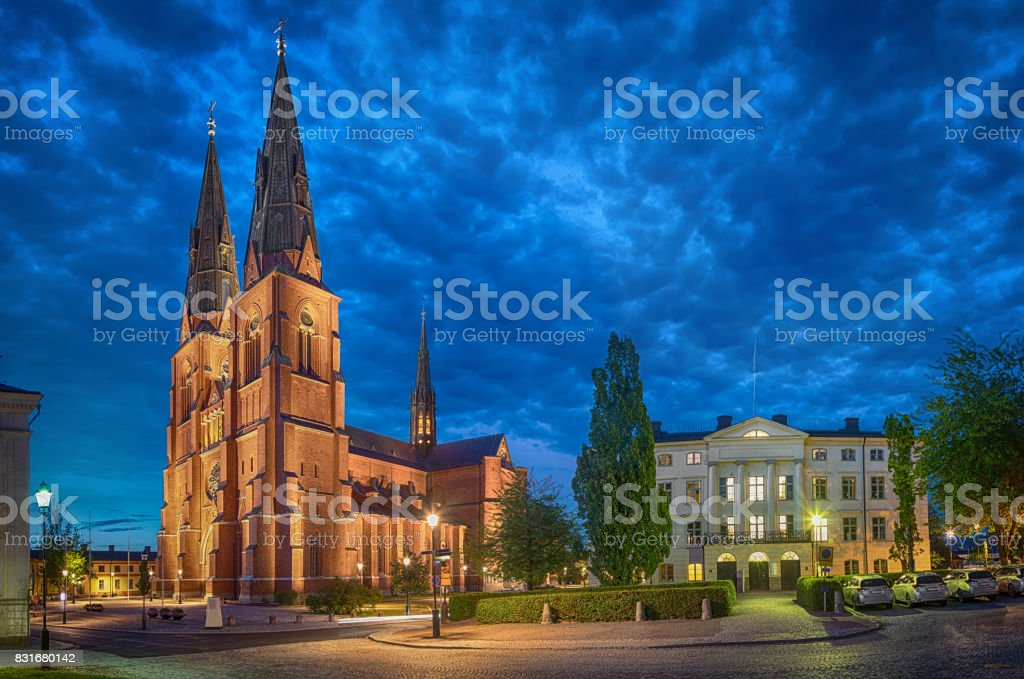 Uppsala Cathedral in the evening, Sweden stock photo