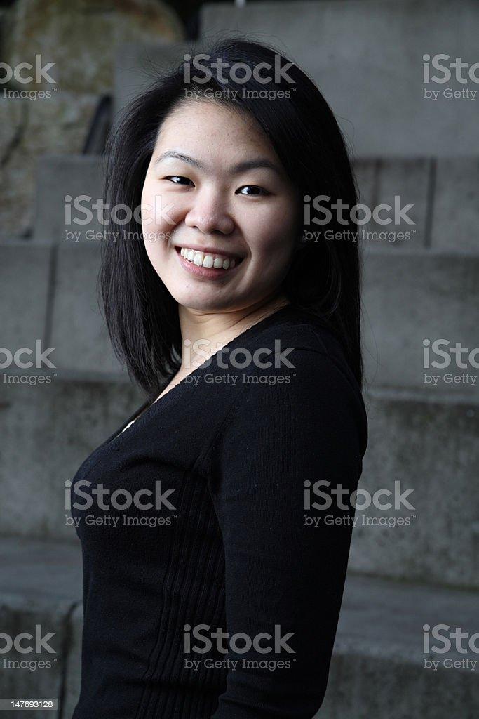 Upright Asian student stock photo