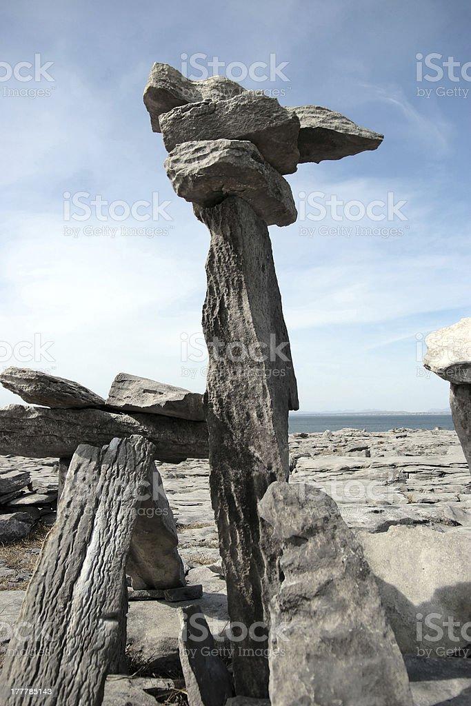 upright standing boulders in rocky burren landscape royalty-free stock photo