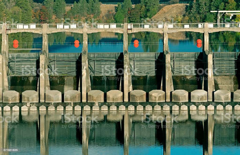 Upriver Dam on Spokane River in eastern Washington state stock photo