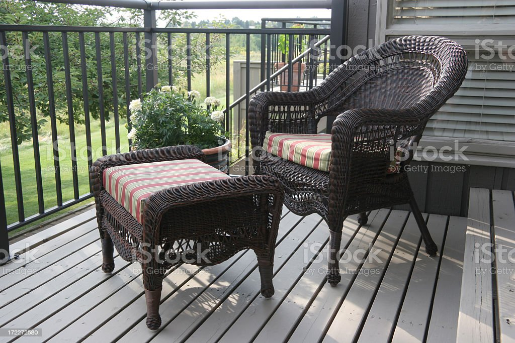 Upscale All Weather Outdoor Wicker Furniture stock photo