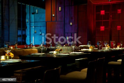 A shot of gorgeous table setting in gourmet restaurant