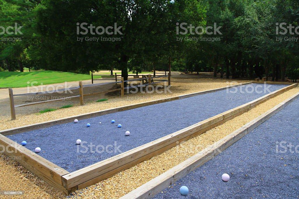 Upscale beautiful bocce ball courts stock photo