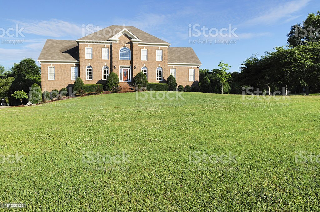 Upscale Brick Single Family Home in Brentwood Tennessee stock photo