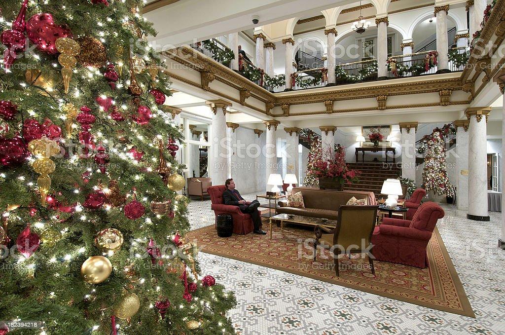 Upscale Hotel Lobby at Christmas stock photo