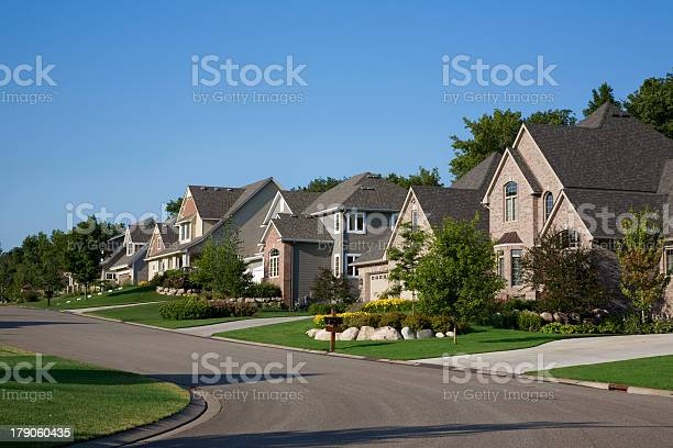 Upscale houses on suburban street