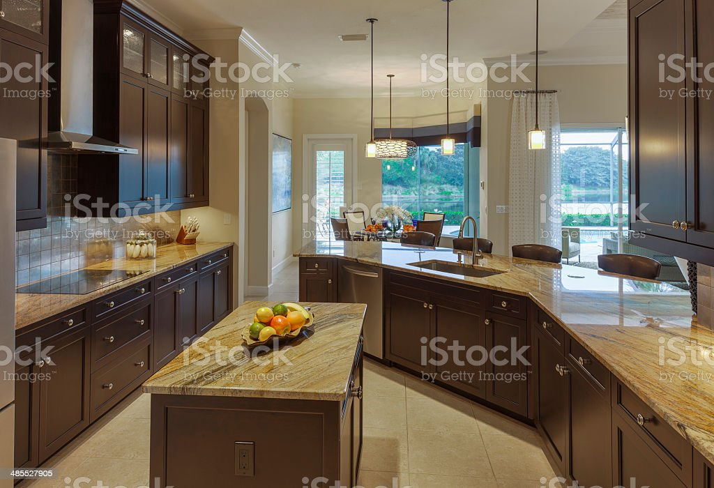 Up-scale Kitchen in Southwest Florida Home stock photo