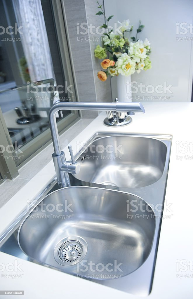 upscale kitchen sink stock photo