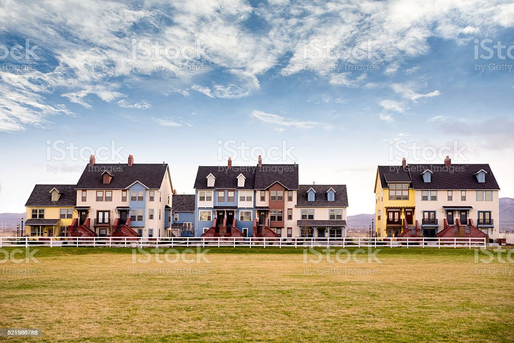 Upscale, Modern Townhome Apartments Complex stock photo