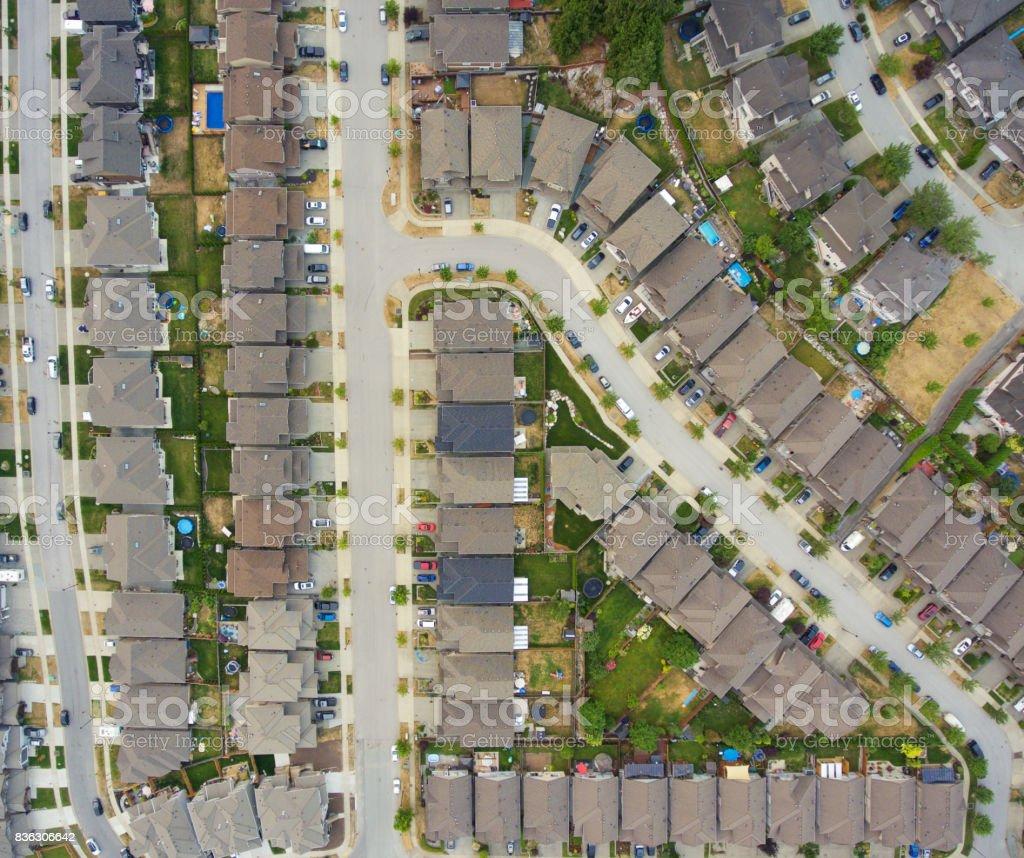 Upscale suburban neighborhood stock photo