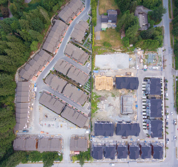 Upscale suburban neighborhood under construction stock photo