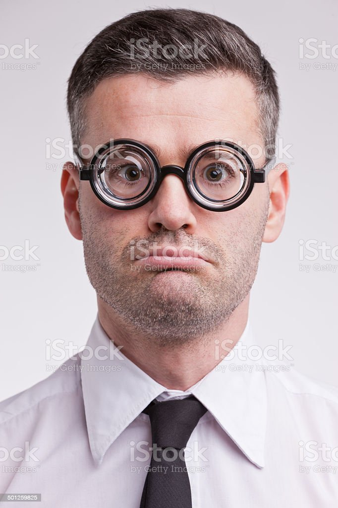 upset and disappointed nerd clerk royalty-free stock photo
