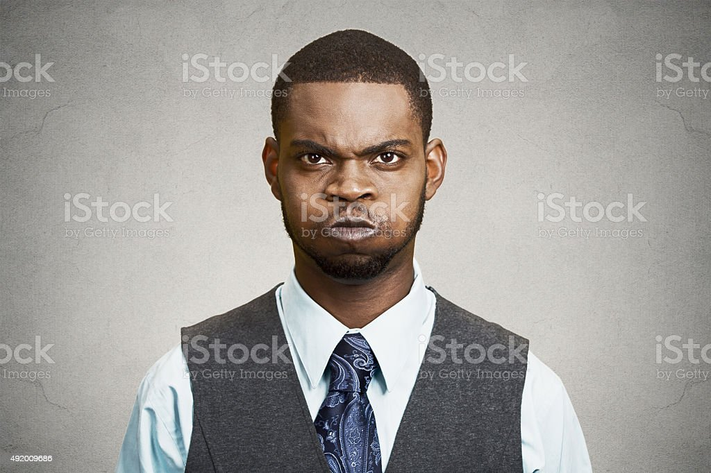Upset angry customer, man, boss executive stock photo