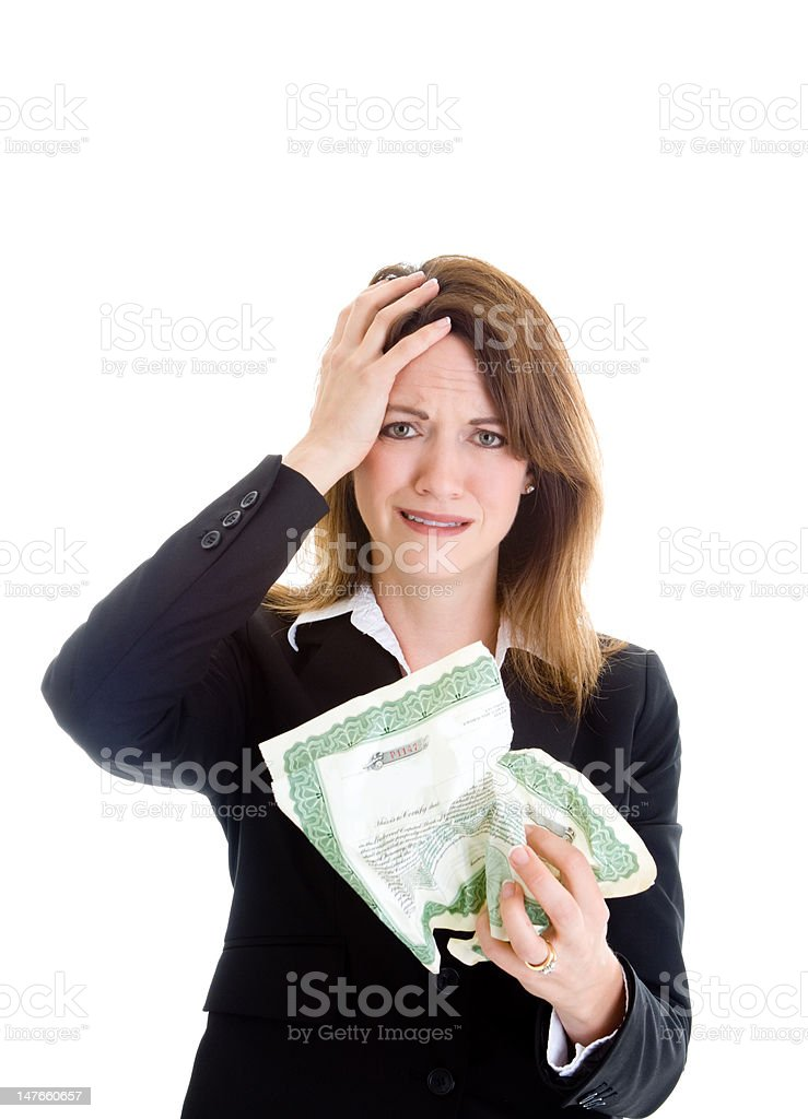 Upset Caucasian Woman Stock Market Certificate Hand on Head Isolated royalty-free stock photo