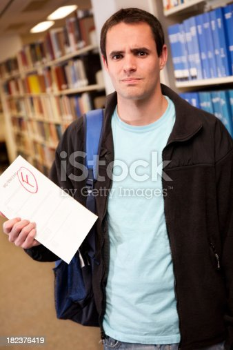 Upset College Student Holding His Failing Exam Paper.See more from this series: