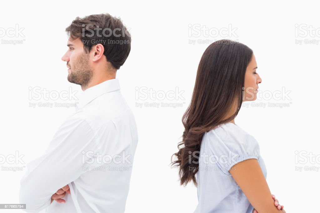 Upset couple not talking to each other after fight stock photo