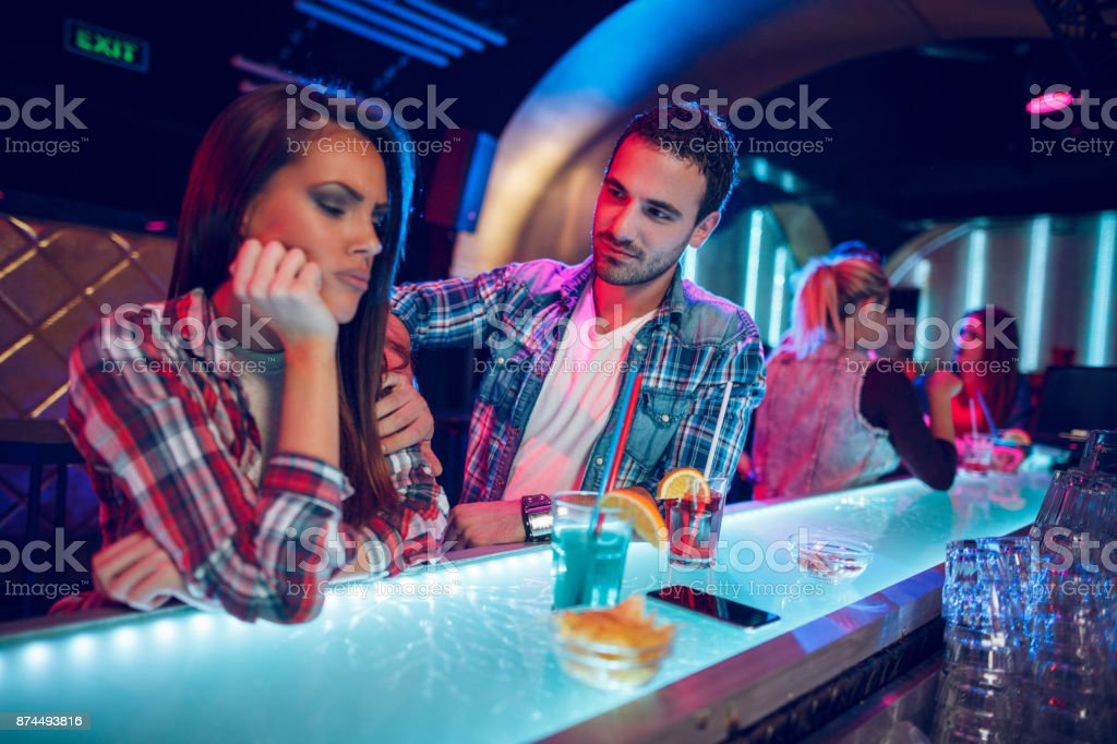 Upset couple not talking to each other stock photo