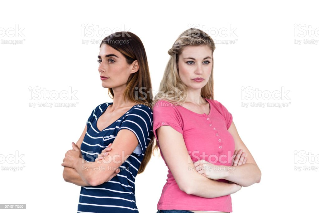 Upset friends with arms crossed royalty-free stock photo