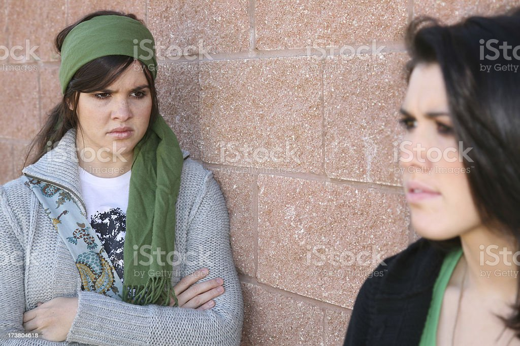 Upset Girl Friends Scowling At One Another royalty-free stock photo