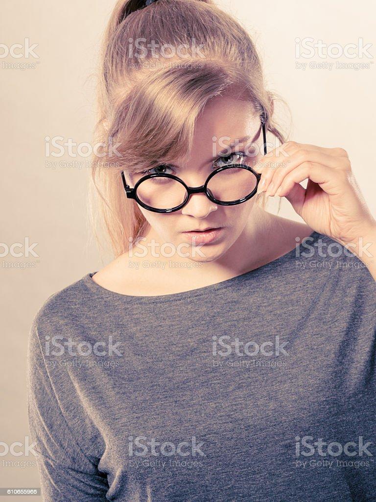 Upset lady expressing anger. stock photo