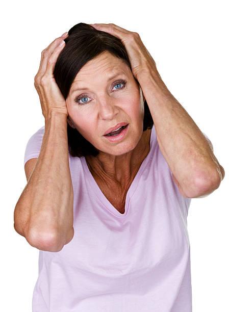 upset mature woman - mature woman fever on white bildbanksfoton och bilder