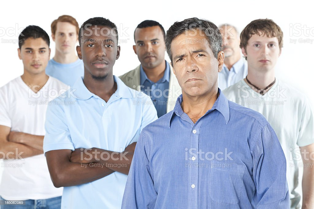 Upset men standing with white background royalty-free stock photo