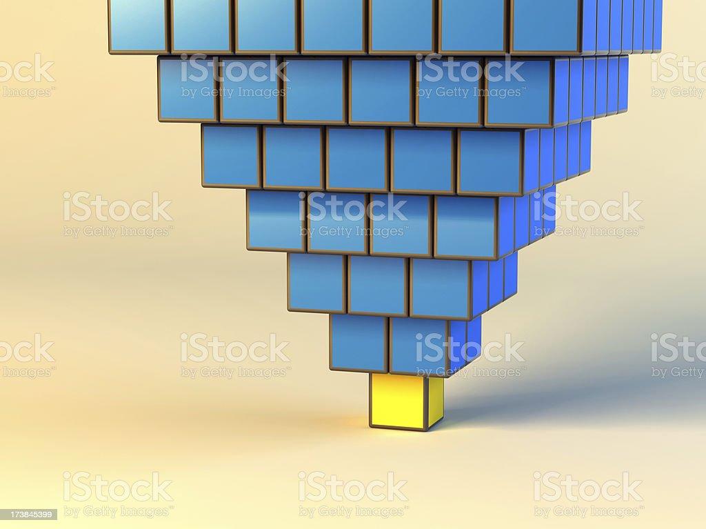 Upset Pyramid from cubes stock photo