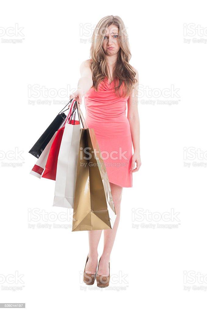Upset shopping girl royalty-free stock photo
