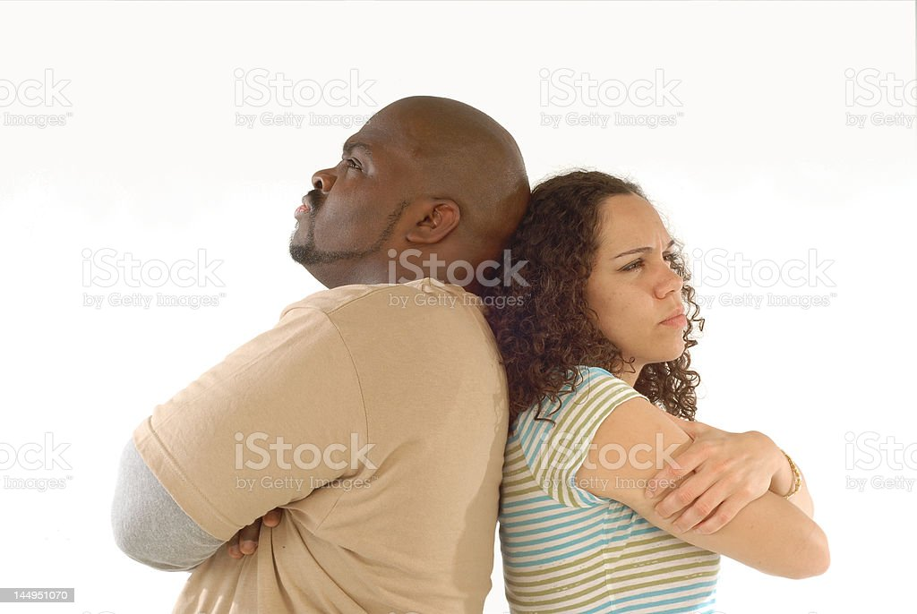 Upset with each other stock photo