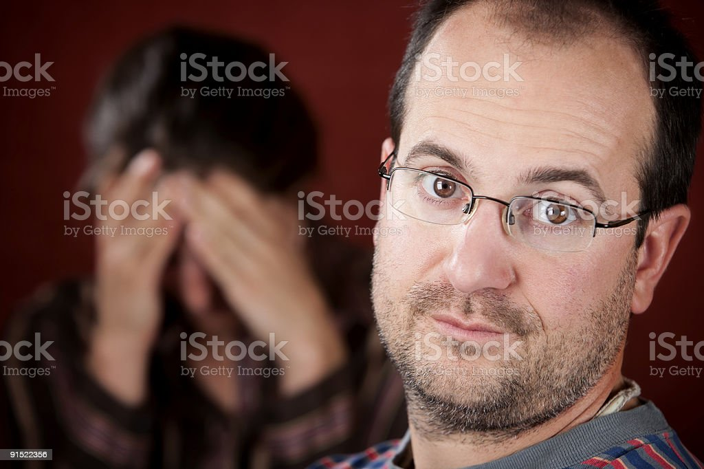 Upset woman and guilty man royalty-free stock photo