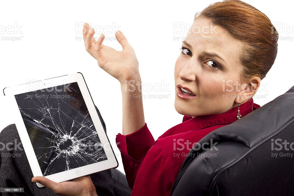 Upset Woman Complaining About a Broken Tablet Screen stock photo