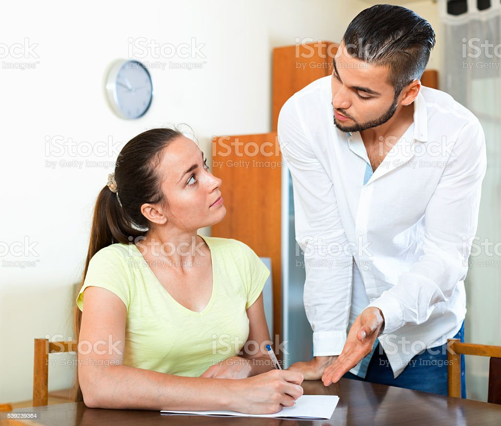 Upset worried  male and female sitting royalty-free stock photo
