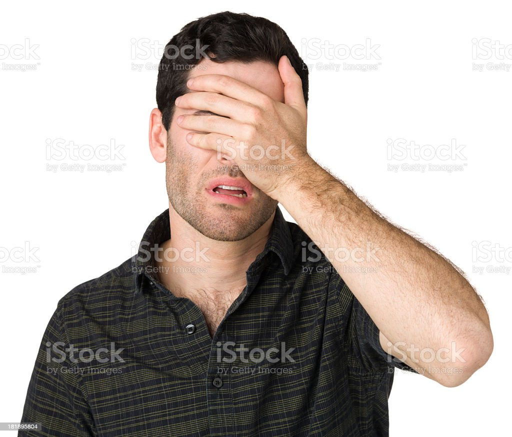 Upset Young Man With Hand Over Face royalty-free stock photo