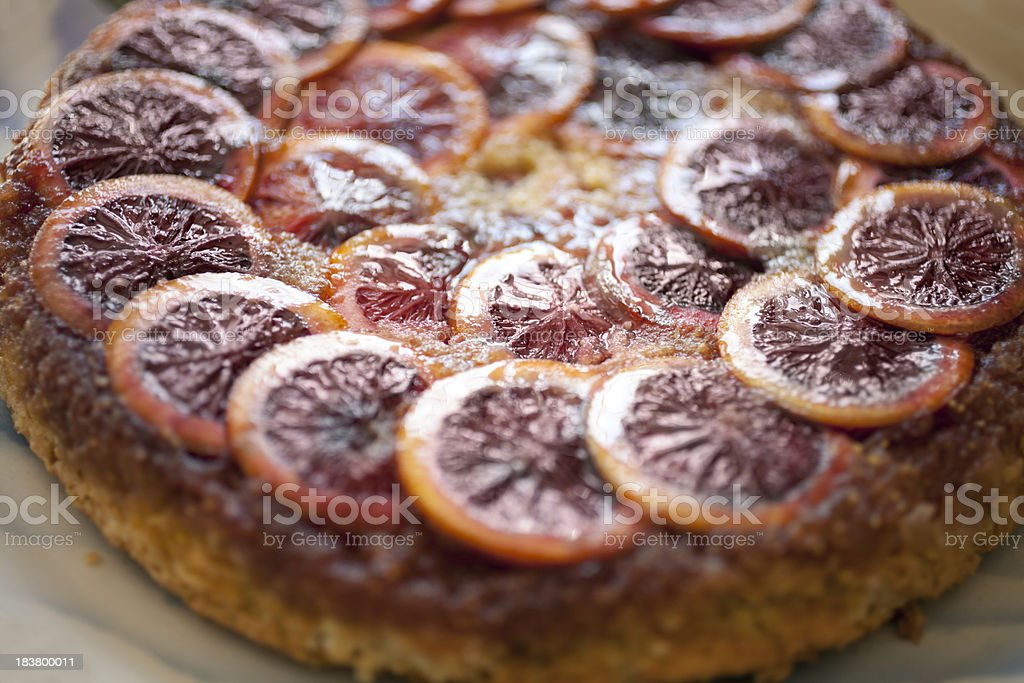 Upside down blood orange cake stock photo